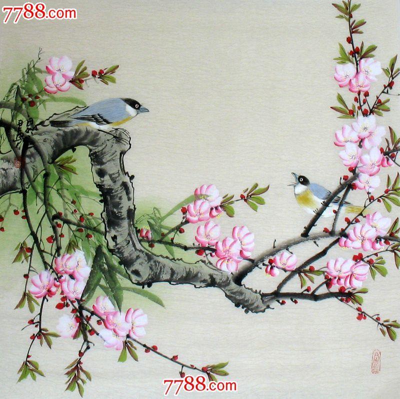 纯手绘花鸟画国画工笔手绘斗方画客厅餐馆茶楼装饰