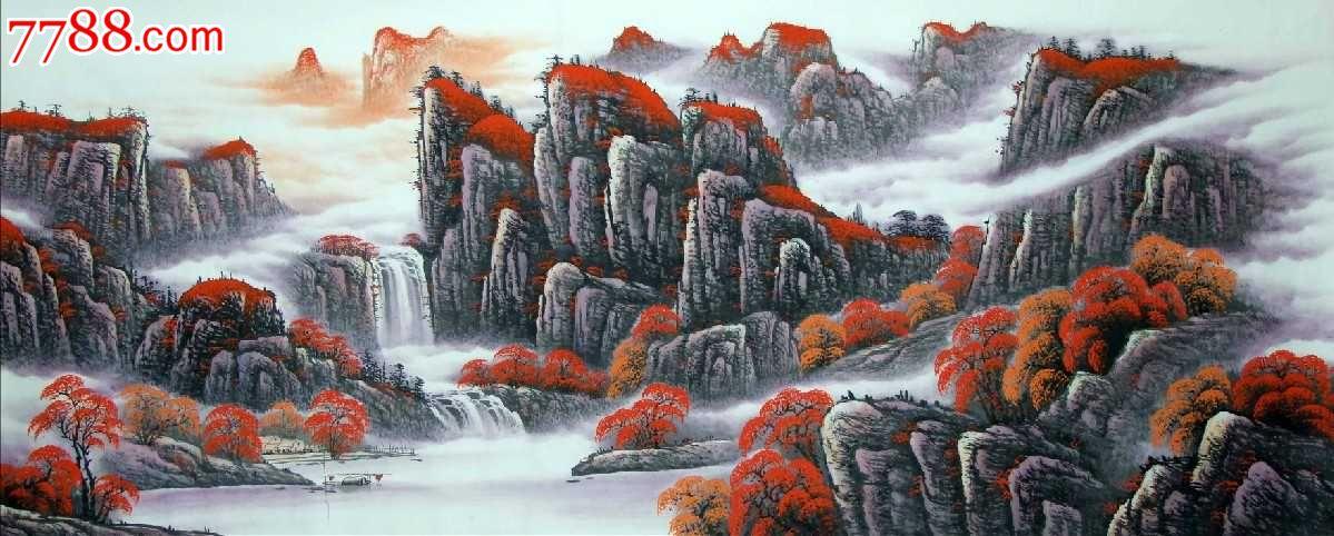 字画书画国画袁林峰小八尺鸿运当头风水山水画