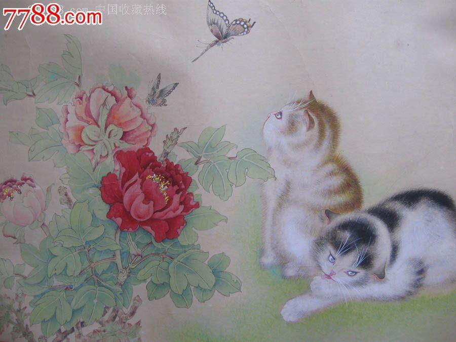 名画家曾慧龙工笔画《春满人间》--内画牡丹,蝴蝶,猫