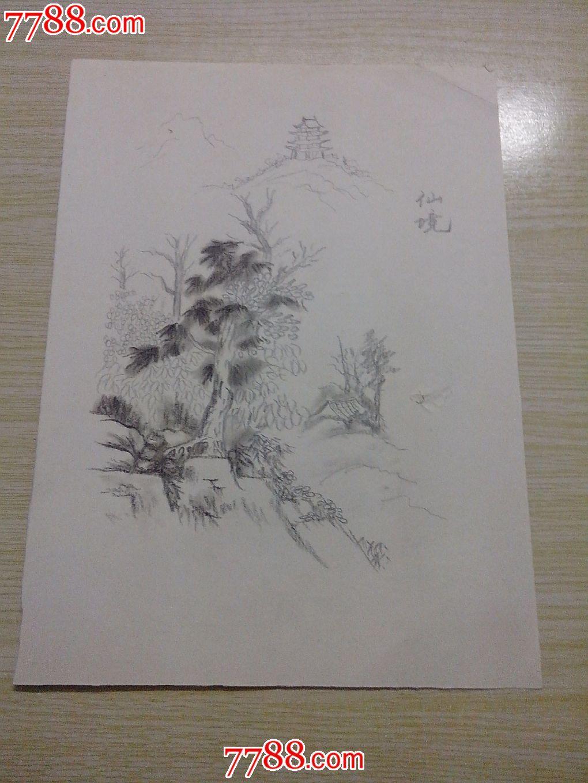 se21128484, 品种: 素描/速写-素描/速写 属性: 铅笔画原画,,山水