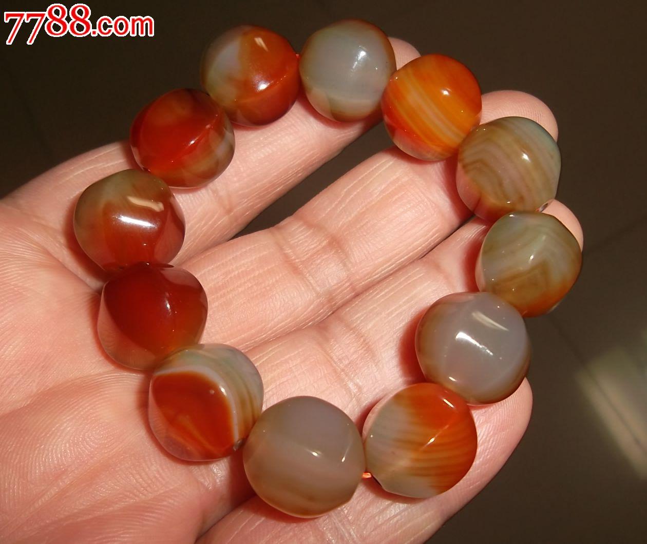 多色玛瑙大珠子手链