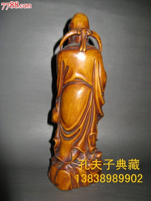 老木器老木雕黄杨木财神摆件手工雕刻招财进宝