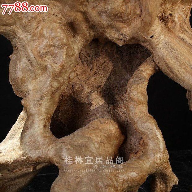宜居品阁/天然根雕奇石/紫薇木根艺摆件自然件犀牛ywd706