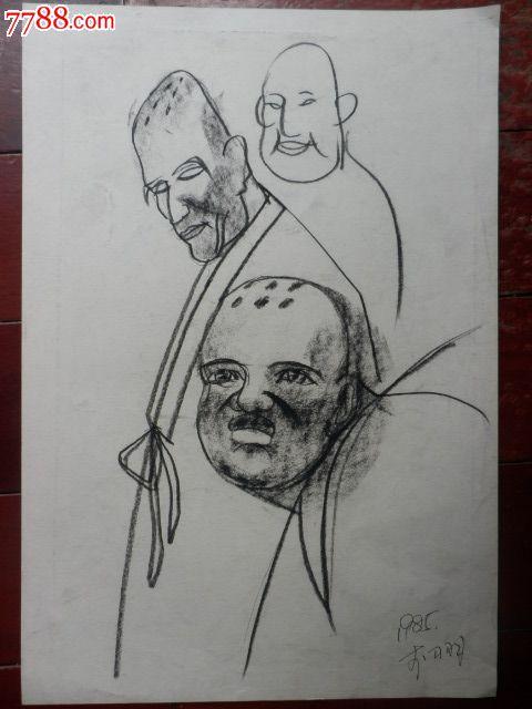 和尚手绘素描霸气图片