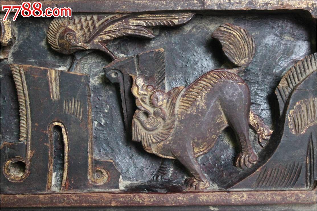 凤凰麒麟木雕板