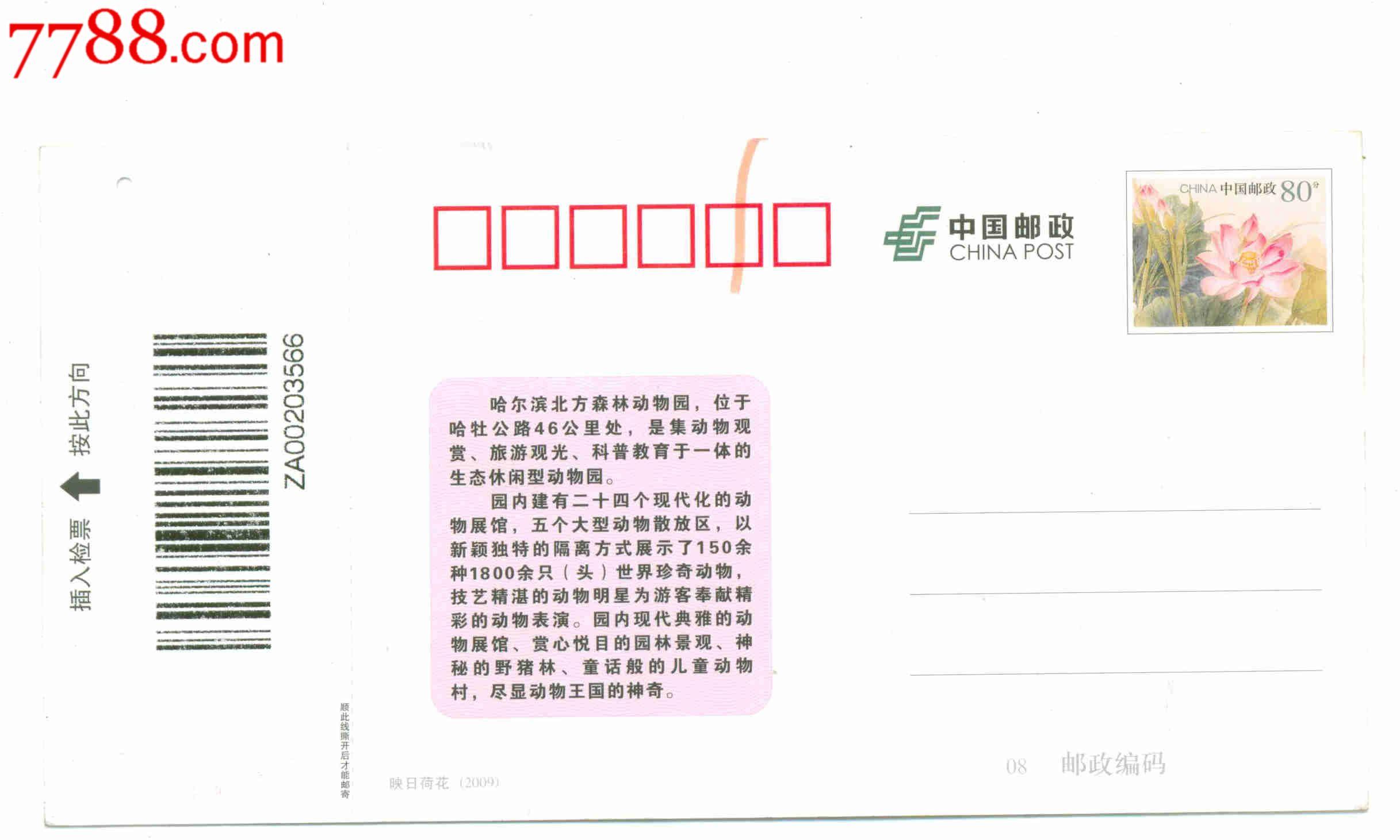 哈尔滨北方森林动物园明信片门票