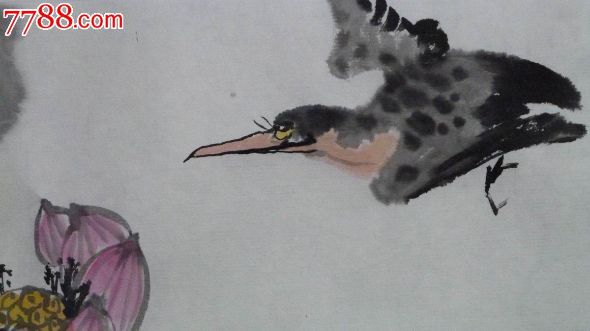 中国画写意荷花花鸟画《风动香满》