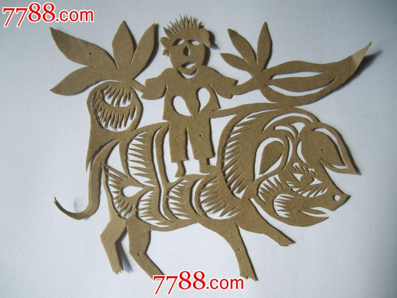 陕北纯手工剪纸——骑猪人