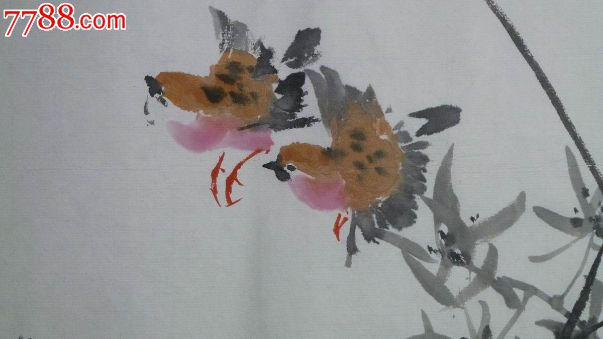 中国画写意花鸟兰草图 春