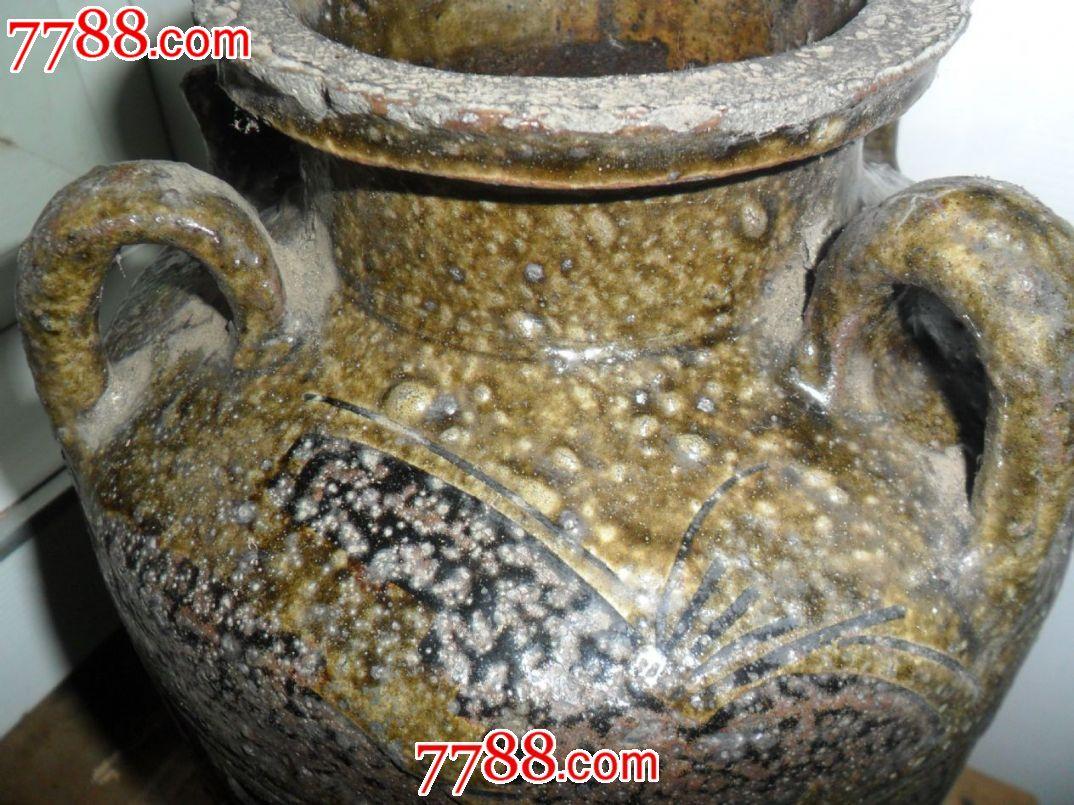 清代花纹四耳大陶罐