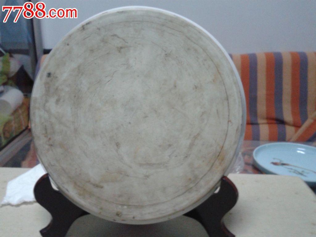 全手绘牡丹花卉纹陶瓷盘-赏盘