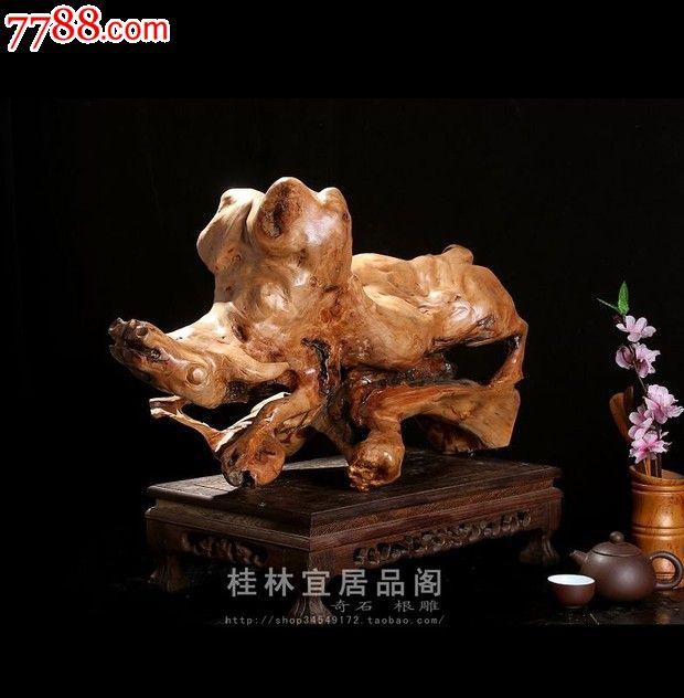 宜居品阁/天然根雕木雕/实木家居艺术摆件禾木生肖牛