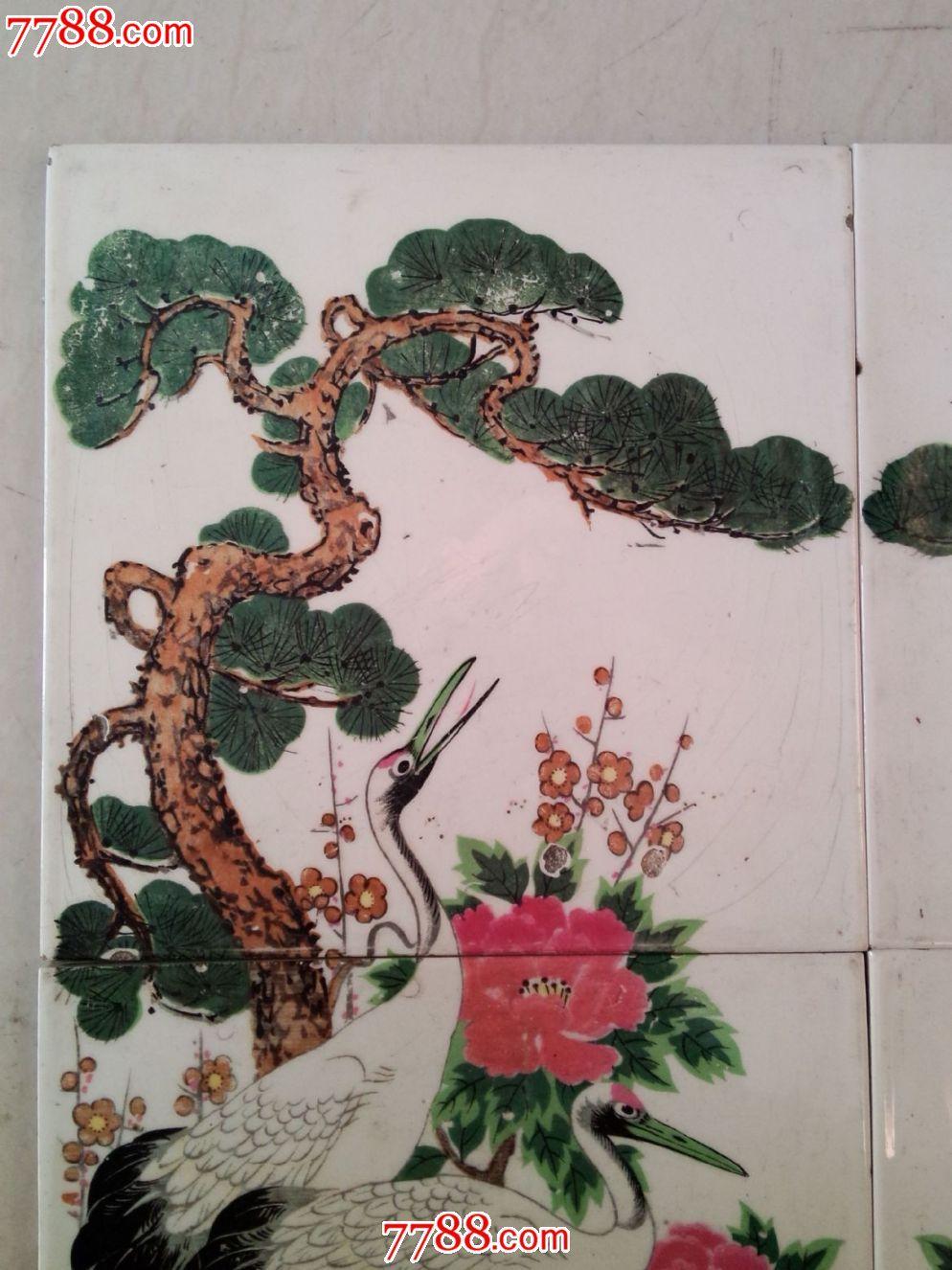 满洲国老柜上松树仙鹤一组四块同售