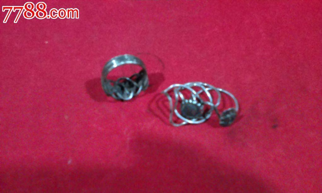 清代银四连环戒指一枚2