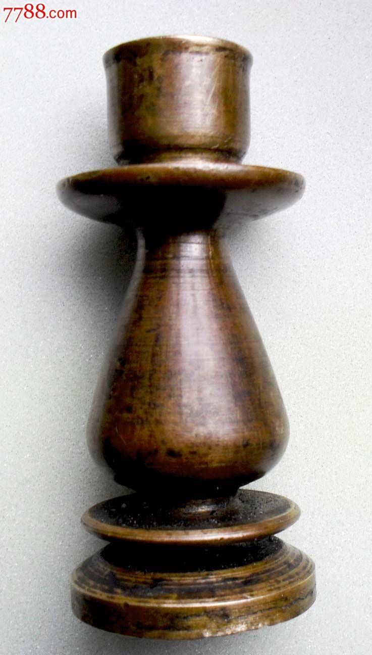奇特的花瓶造型纯铜实心烛台
