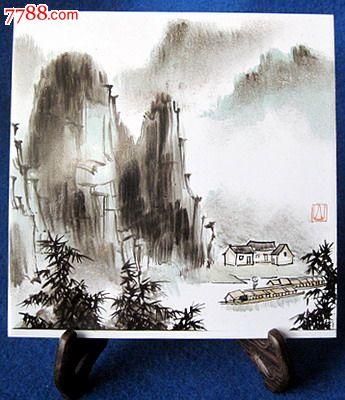 《桂林山水—2》手绘瓷板画(15x15厘米)
