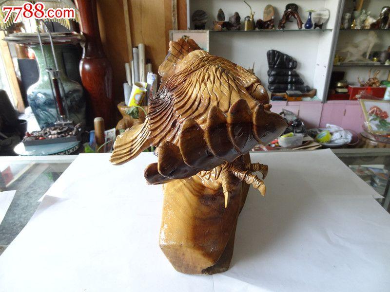 雄鹰展翅老木雕摆件工艺品