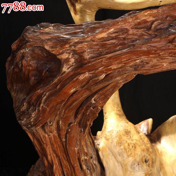 宜居品阁木雕根雕根艺摆件自然件香楠木枯木蓬春ywd808