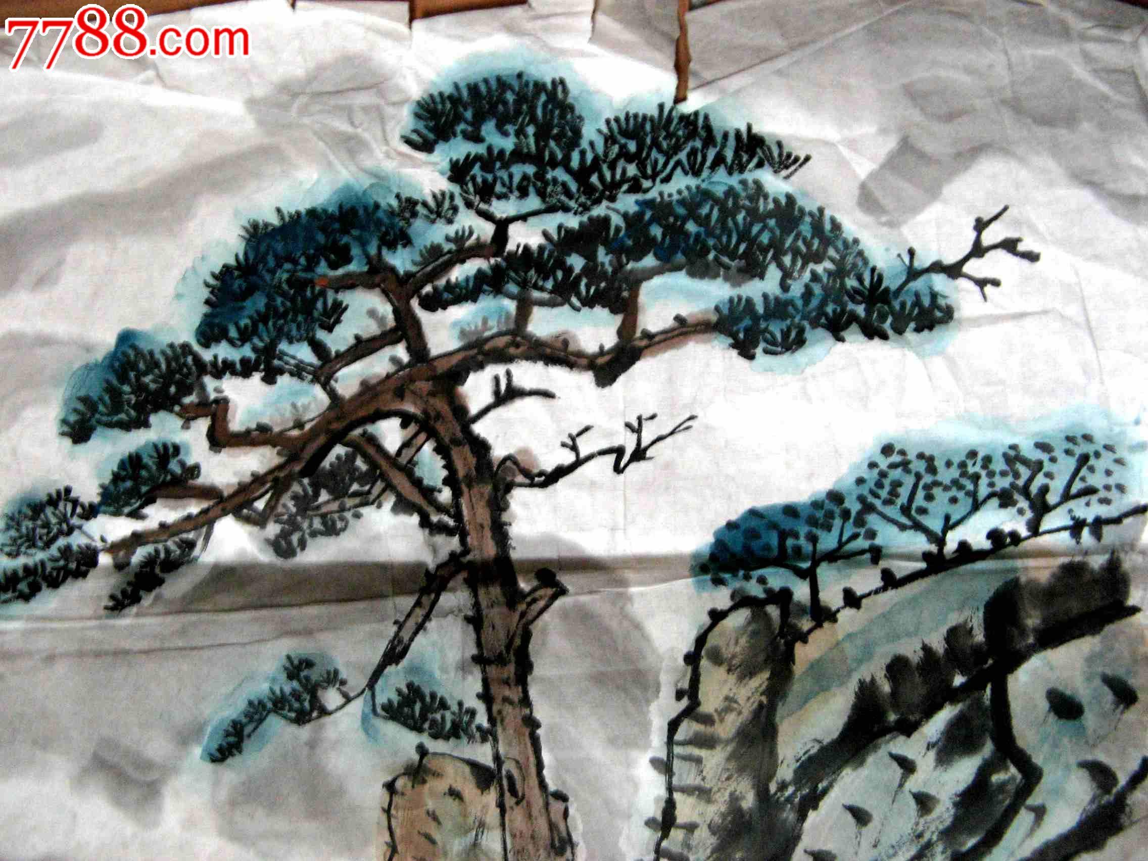 横幅简单的水墨画-练 的四尺开三条幅 山水画 岩松 se2