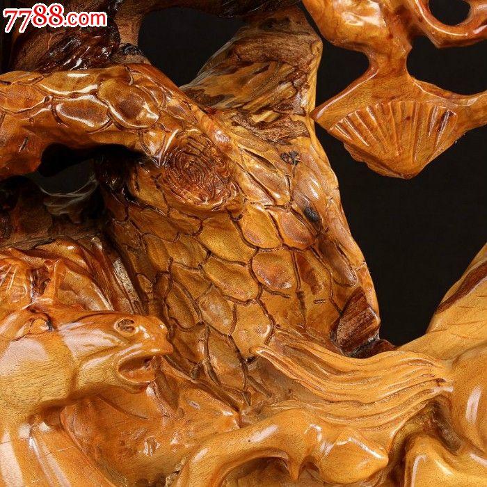 宜居品阁根雕木雕实木工艺品香楠木艺术摆件马到成功ywd804