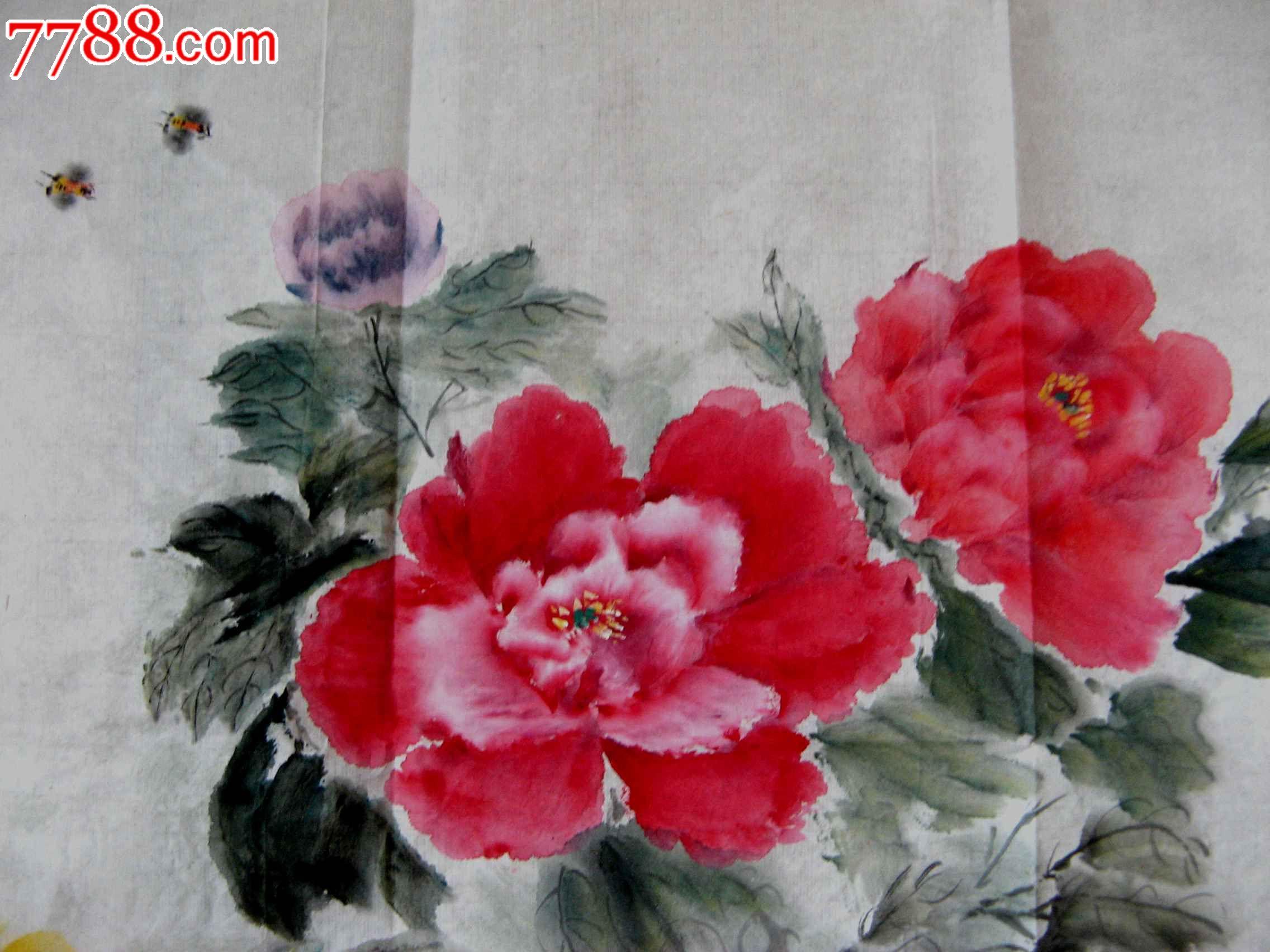 北京老画家四尺开三写意牡丹画《春风得意》