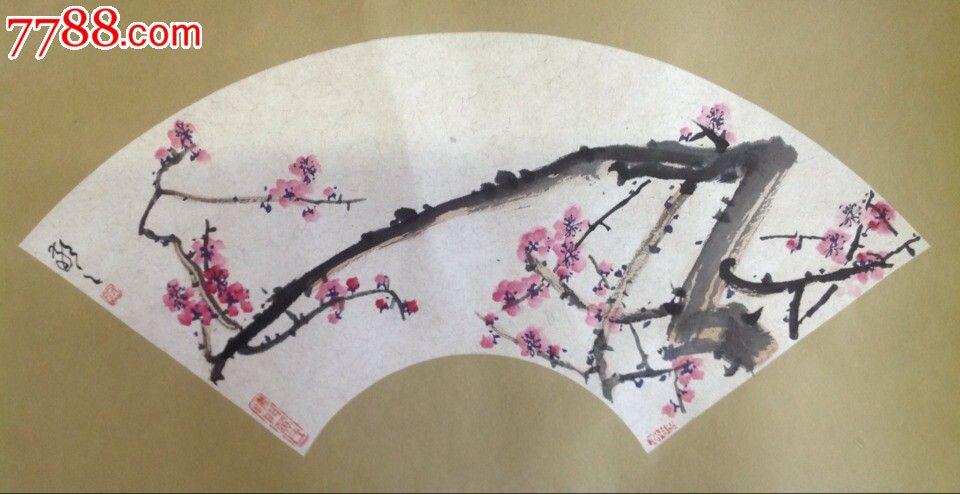 手绘扇彩笔梅花