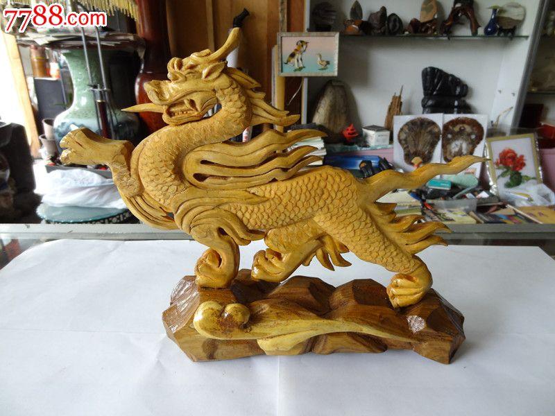 朝鲜手工木雕龙摆件工艺品图片