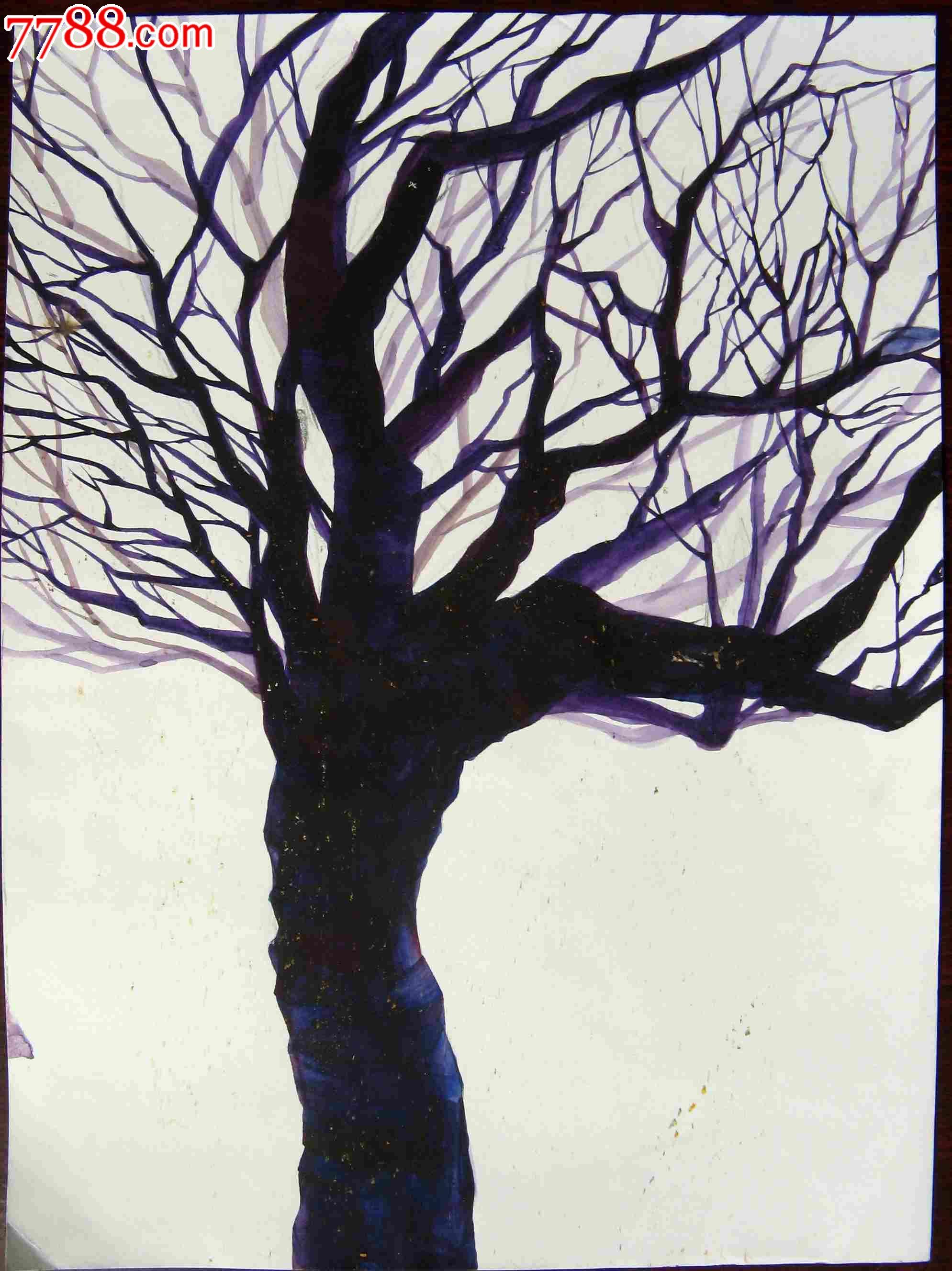 16开风景水彩画:大树