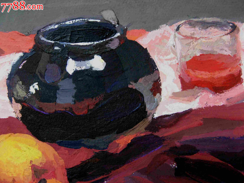 八开静物水彩画:水果与容器
