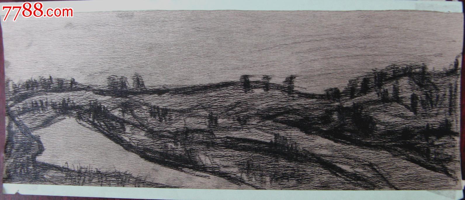 素描无款风景山水画 旷野