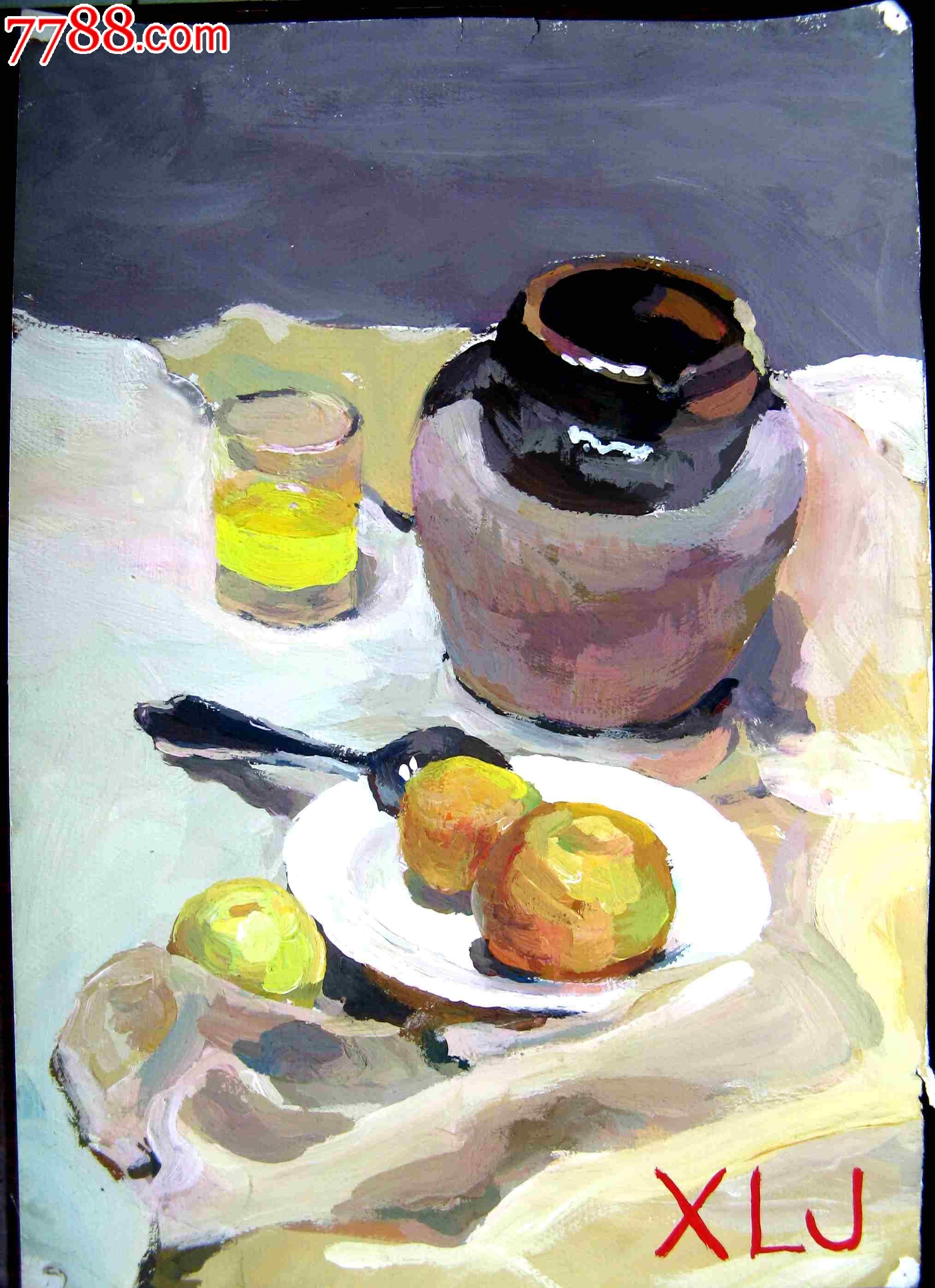 八开静物水彩画:水果,水杯与陶罐