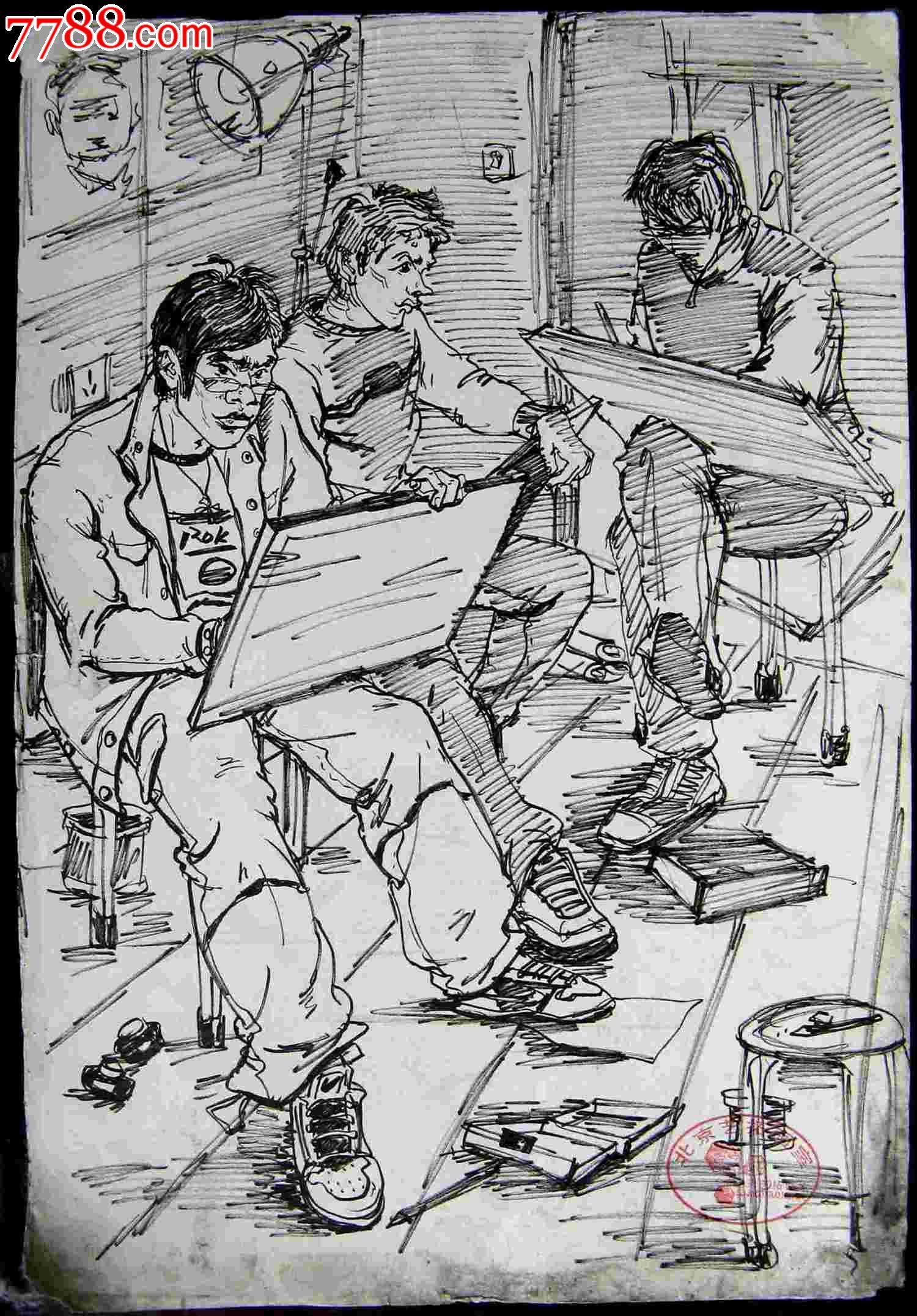 素描人物画正在写生的画手图片