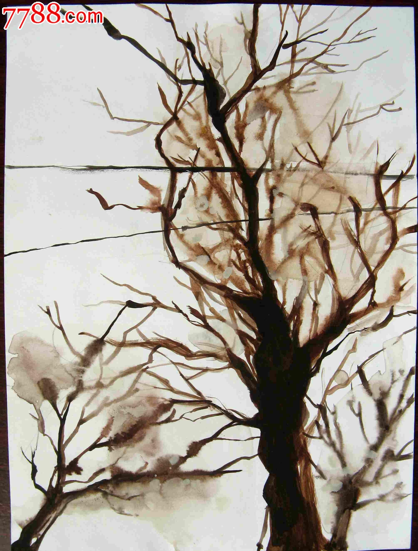 16开风景水彩画:树与线