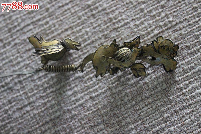 清代双金鹧鸪祥云立体雕花纹饰鎏金银发簪广安款18.5cm保真a3.