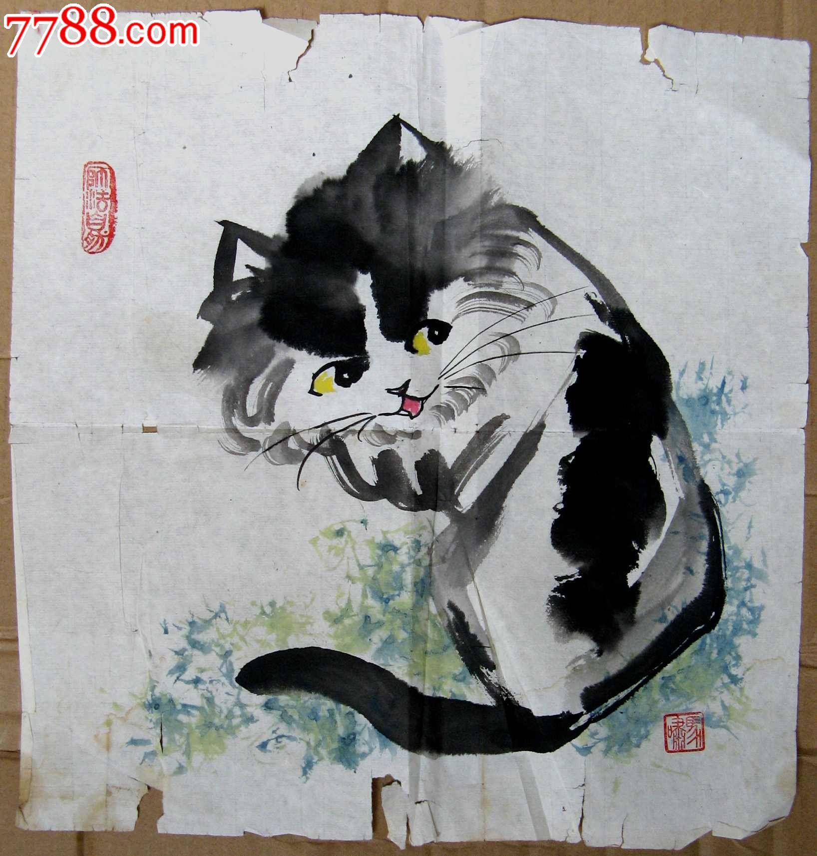 北京实力画家,中国书协会员简洁可爱的一尺斗方花猫画