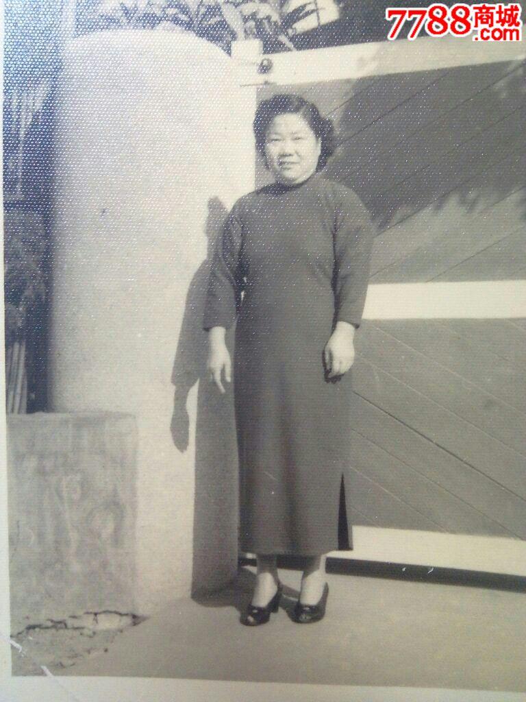 民国老照片穿旗袍的富态妇人,老照片-- 个人照