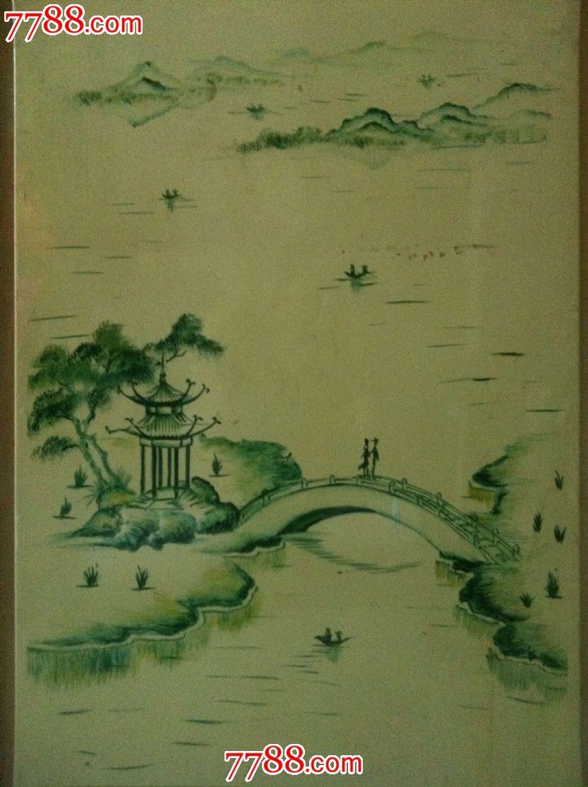 80年代手绘青山绿水