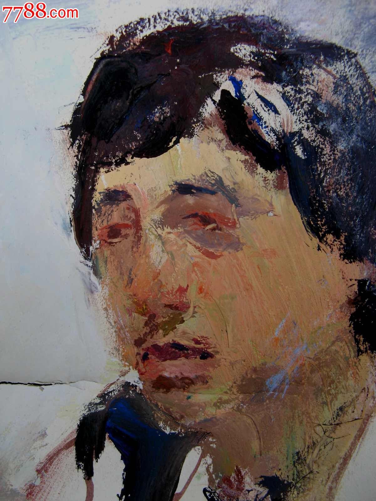 四开水粉人物画:男人头像_价格元_第2张_7788收藏__中国收藏热线