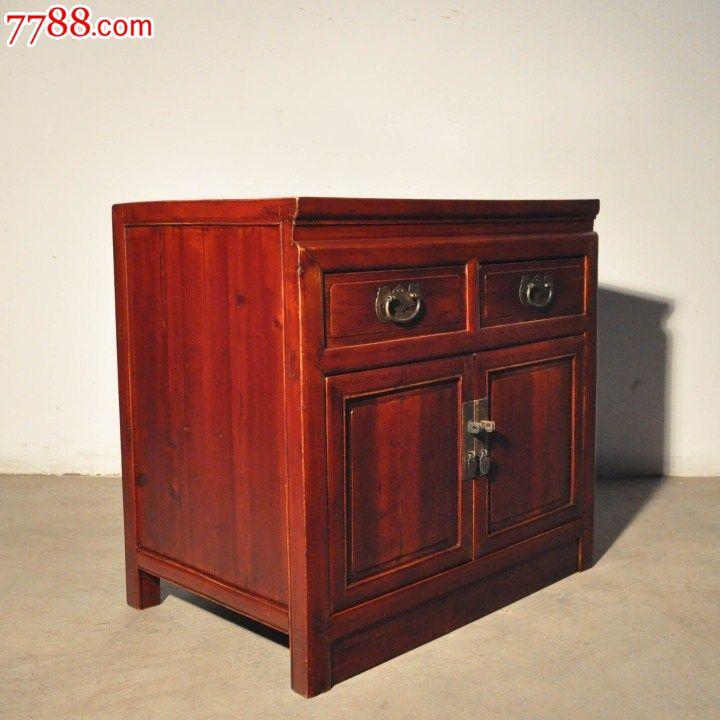 明清中式/古董收藏/老实木灯柜旧小柜子床头边角柜图片