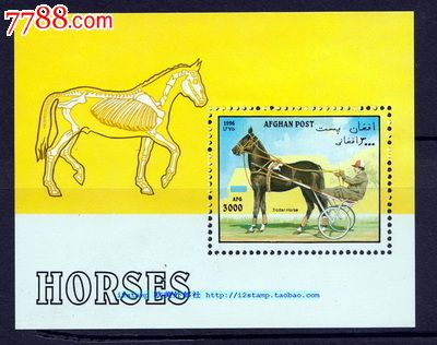 【阿富汗全新邮票】马车动物骨骼结构(小型张)1996年