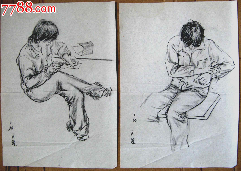 素描人物画2幅:男生宿舍休息