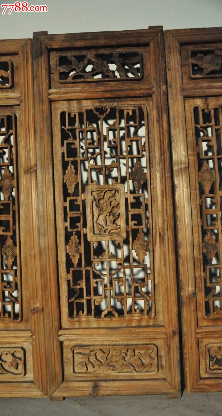 明清中式/古董收藏/旧实木雕花窗四片老门窗格子图片