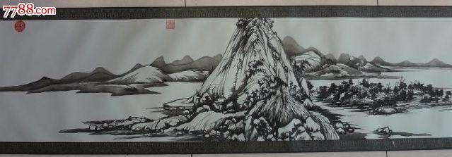 五彩套色,剪纸,富春山居图