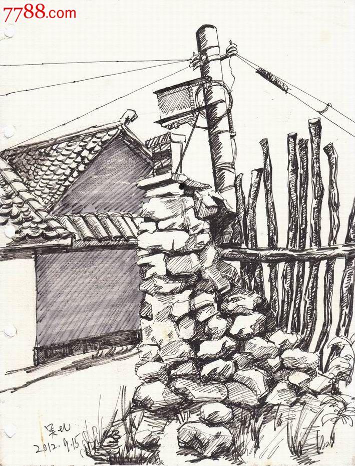 【美院学生·素描·原画稿】延庆县写生·农院门口
