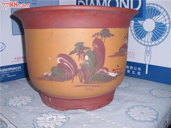 手绘紫砂老花盆