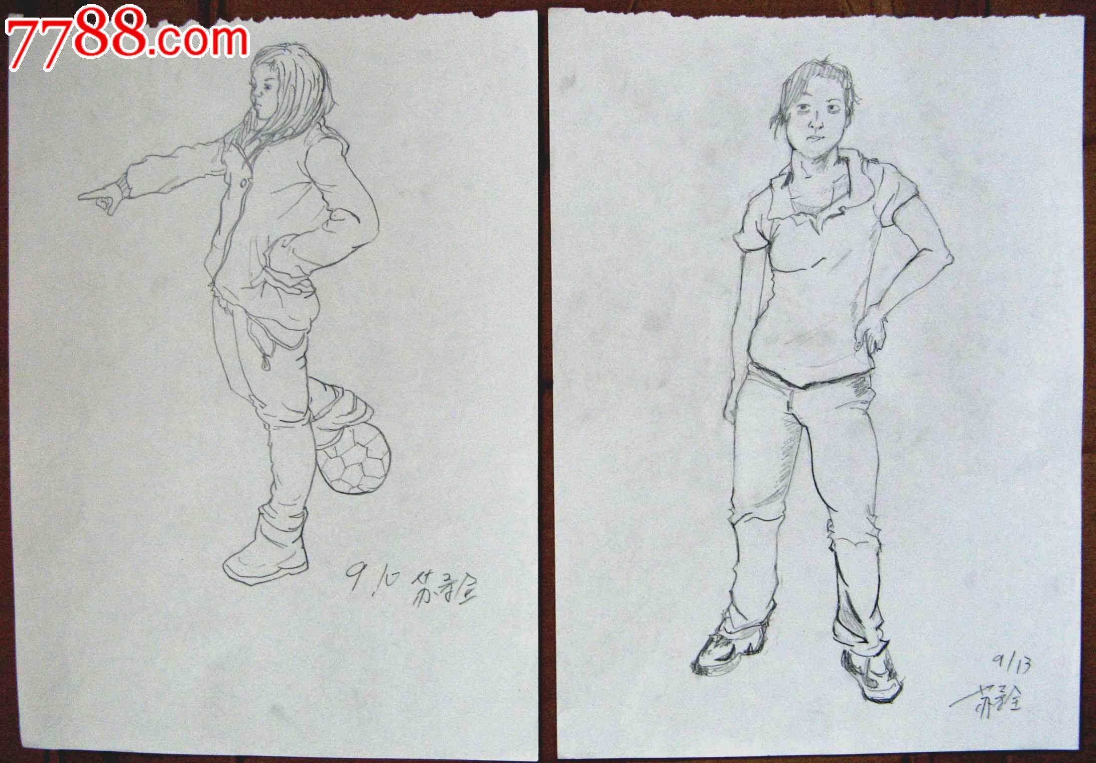 素描人物画2幅:运动的女生