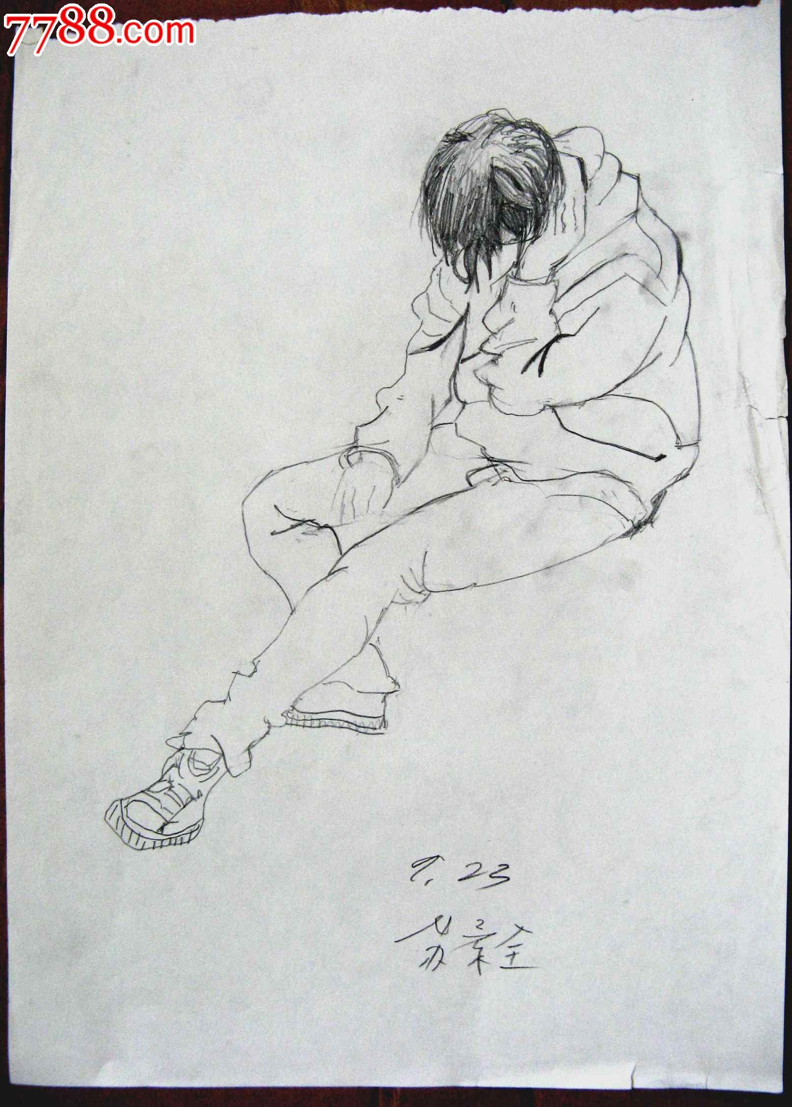 素描人物画2幅:坐着休息的男生