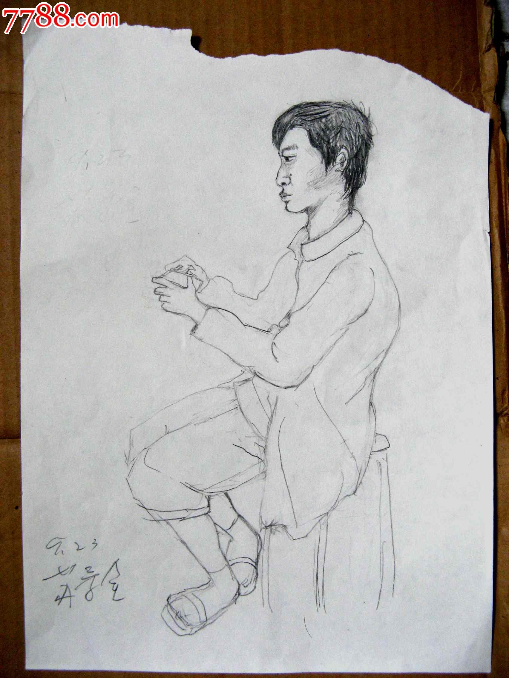 素描人物画2幅:写生和看手机的男生