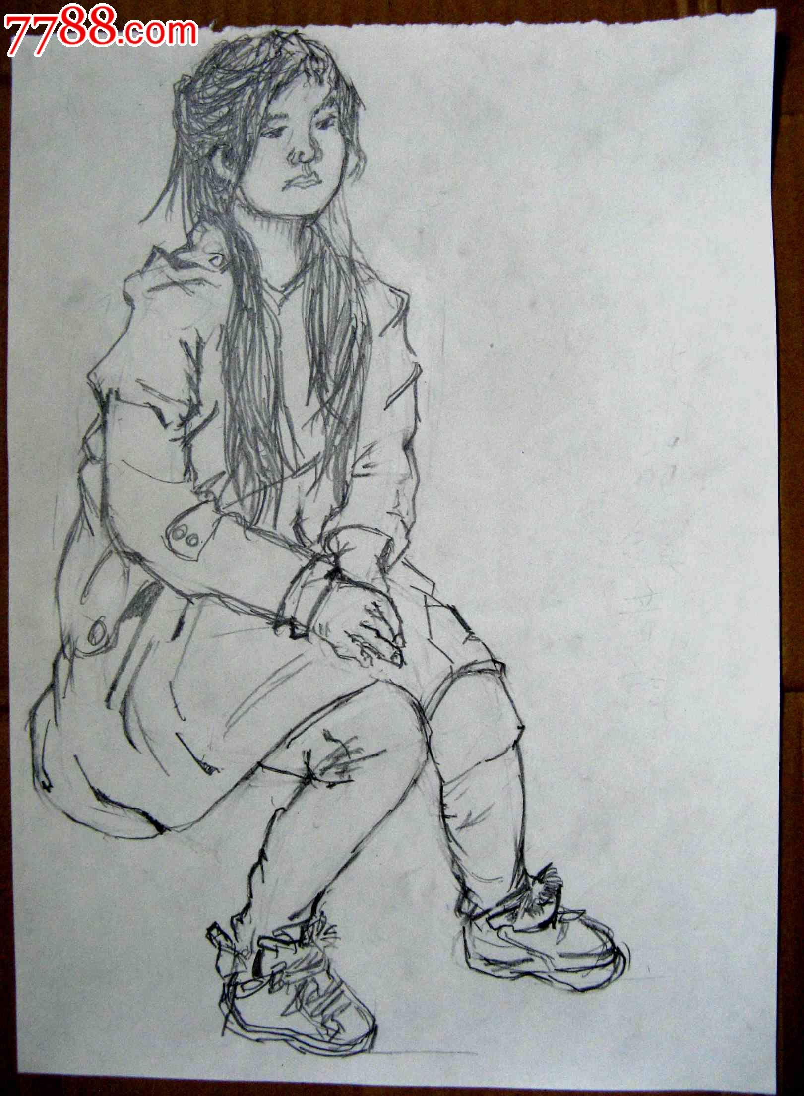 素描人物画2幅:坐着的女生_素描/速写_亮湖藏苑【中国