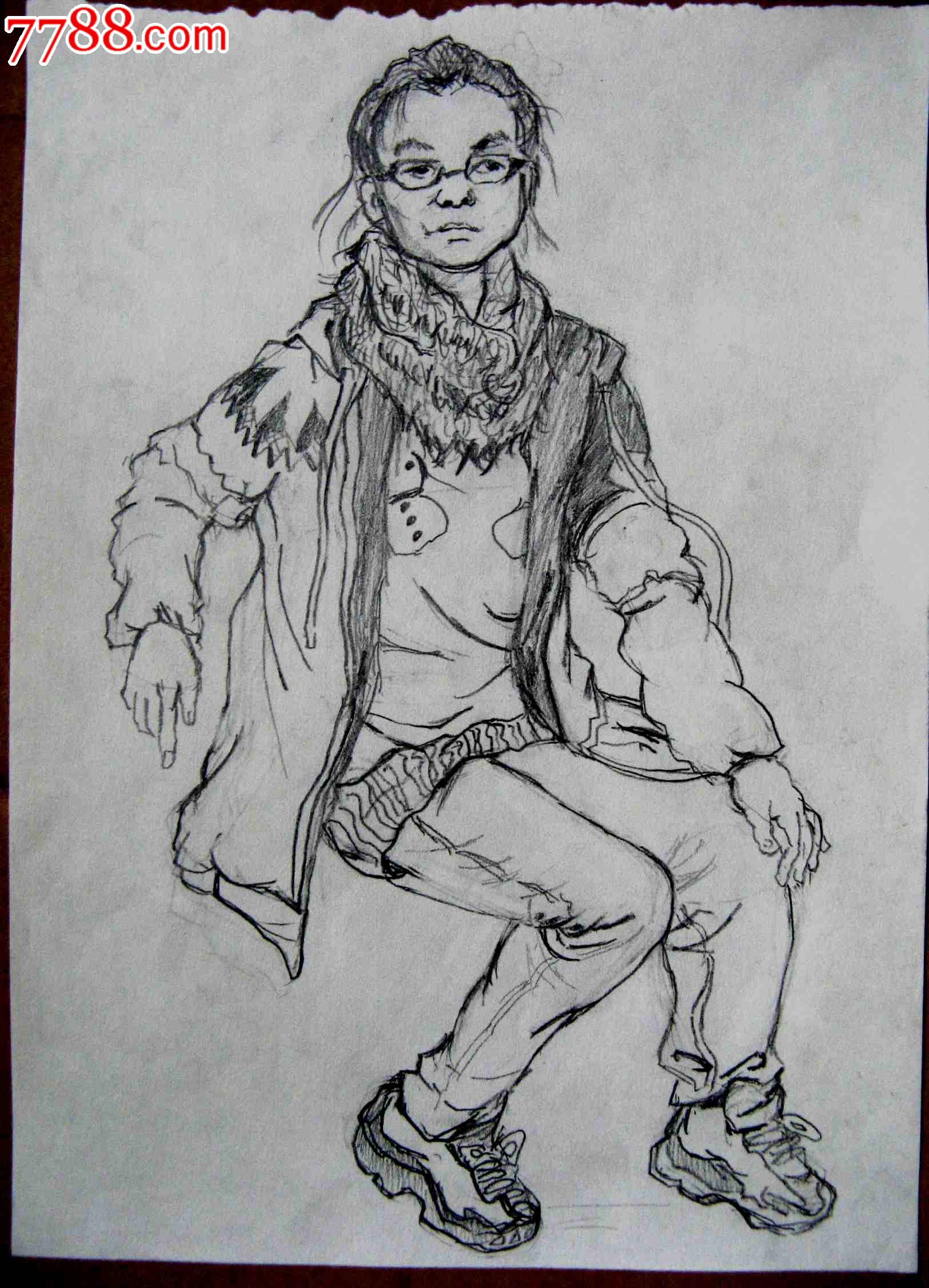 素描人物画2幅:坐着的女生